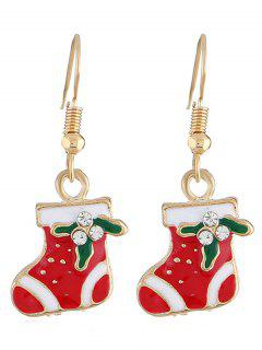 Rhinestone Inlaid Christmas Socks Earrings - Gold