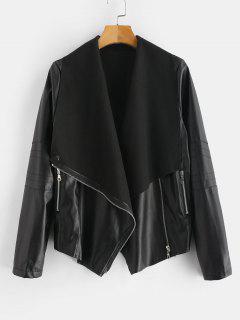 Zipped Faux Leather Biker Jacket - Black L