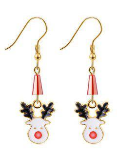 Geometric Reindeer Christmas Earrings - Gold