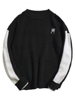 Color Block Embroidery Cat Knit Sweater - Black Xl
