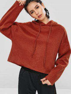 Fleece Lined Solid Color Hoodie - Chestnut Red L