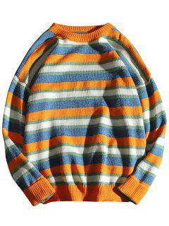 Contrast Striped Crewneck Knit Sweater - Orange S