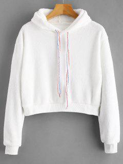 Graphic Drawstring Fleece Cropped Hoodie - White S