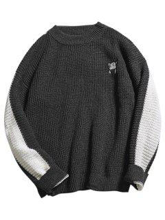 Color Block Embroidery Cat Knit Sweater - Dark Gray L