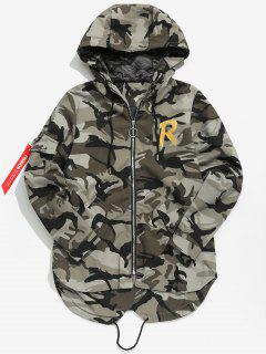 High Low Hem Hooded Camo Jacket - Multi-a L