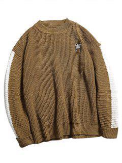 Suéter De Punto Con Bordado De Bloques De Colores - Caqui Xl