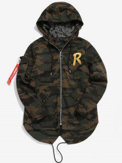 High Low Hem Hooded Camo Jacket - Multi-b L