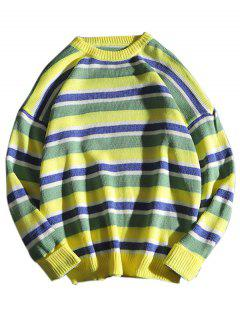 Suéter De Punto Con Cuello Redondo A Rayas - Amarillo S