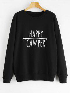 Pullover Contrasting  Graphic Sweatshirt - Black M