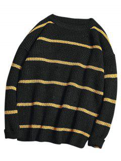 Two Tone Stripe Knit Sweater - Black 2xl