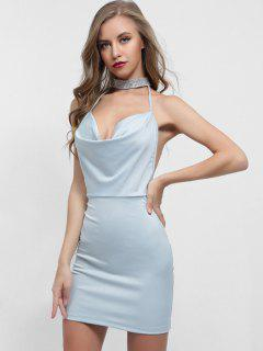 Backless Choker Neck Fitted Dress - Light Blue M