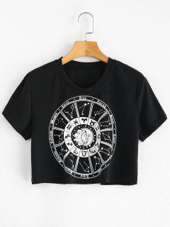 Constellations Graphic Cropped Tee - Black L