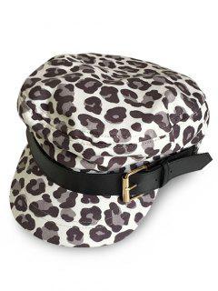Stylish Leopard Print Newsboy Hat - Gray