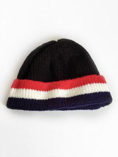 Colored Striped Knitting Ski Cap - Black