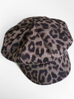 Vintage Leopard Printing Painter Hat - Gray