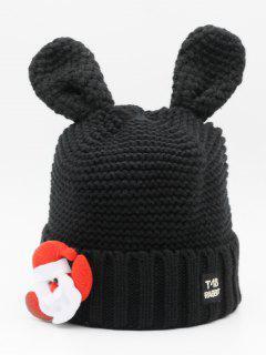 Cartoon Santa Claus Knitted Beanie - Black
