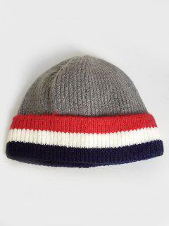 Colored Striped Knitting Ski Cap - Gray