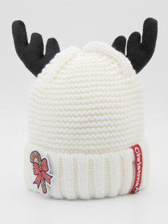 Christmas Cane Antler Knitted Beanie - White