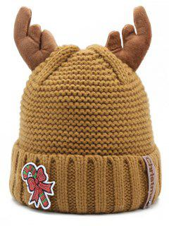 Christmas Cane Antler Knitted Beanie - Brown