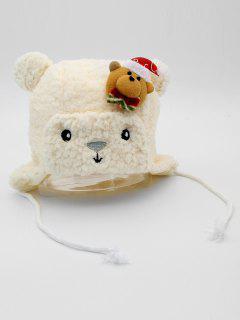 Cartoon Bear Soft Kids Hat - White