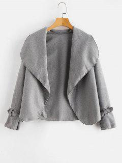 Buckled Open Front Wrap Jacket - Light Gray M