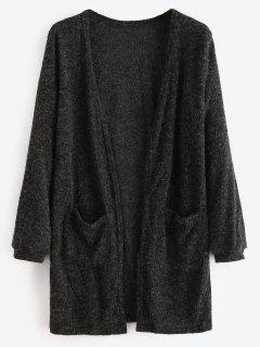 Open Front Two Pockets Longline Cardigan - Black L