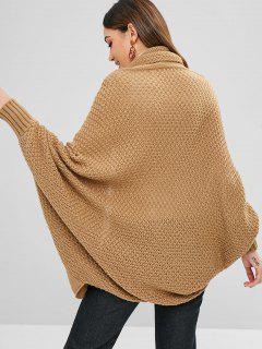 Shawl Collar Dolman Sleeve Oversized Cardigan - Khaki