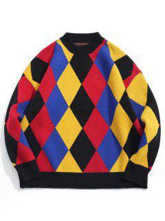 Crew Neck Color Block Rhombic Pattern Sweater - Blueberry Blue M