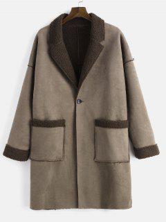 Lapel Collar Fluffy Fleece One Button Coat - Puce M