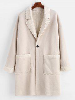 Reverskragen Fluffy Fleece One Button Mantel - Warmweiß L