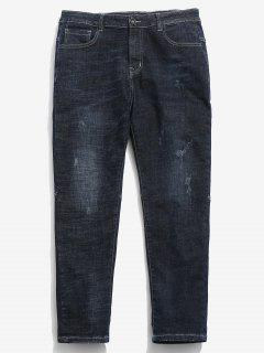 Zipper Straight Leg Ripped Cuffed Jeans - Denim Dark Blue 34