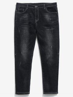Zipper Fly Frayed Hem Design Jeans - Black 38