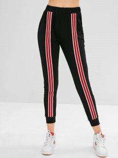 ZAFUL Striped Patched Jogger Pants - Black Xl