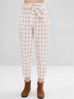 Plaid Belted High Waisted Pants - White L