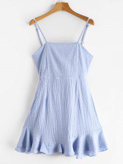Vestido Cami Nudo De Volantes - Azul Claro 2xl