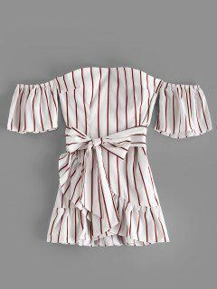 Robe Asymétrique à Volants - Blanc 2xl