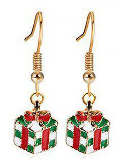 Christmas Bowknot Present Dangle Earrings - Gold