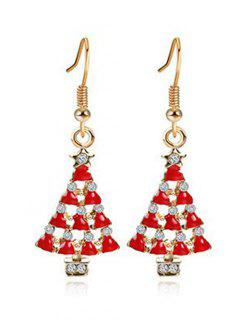 Hollow Out Christmas Tree Design Earrings - Gold