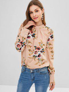 Blusa Con Abertura En El Ojo De La Cerradura Y Blusa Floral - Multicolor M