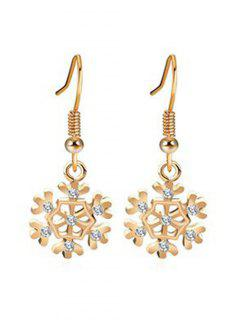 Rhinestone Inlaid Snowflake Christmas Earrings - Gold