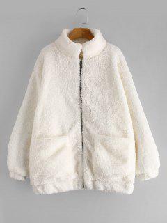 Slip Pockets Faux Fur Teddy Coat - White M