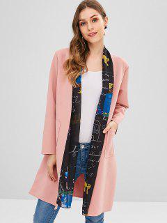 Manteau Long à Motifs Ouvert - Rose Léger