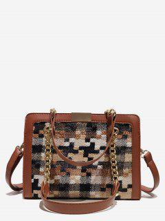 Statement Plaid Printed Handbag - Light Brown
