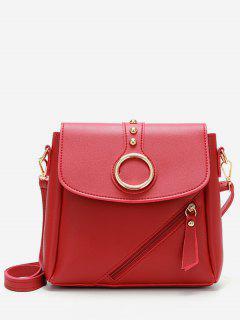 Rivet Design Metal Hoop Crossbody Bag - Red