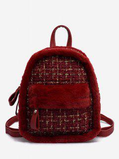 Plaid Fluffy Design Backpack - Lava Red
