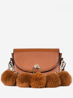 Layered Fluffy Balls Design Mini Crossbody Bag - Brown