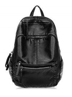PU Leather Design Zipper Backpack - Black