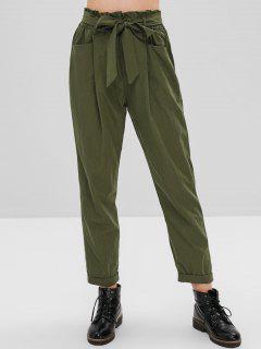 Pantalones Con Bolsillo Con Cinturón - Verde De Helecho L