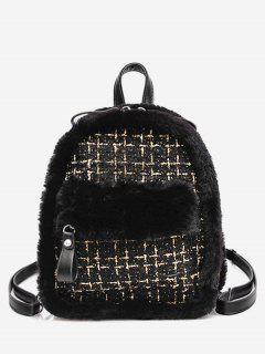 Plaid Fluffy Design Backpack - Black