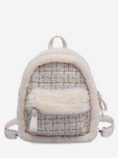 Plaid Fluffy Design Backpack - White